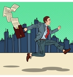 Pop art businessman with briefcase running to work vector