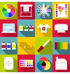 Print items icons set flat style vector