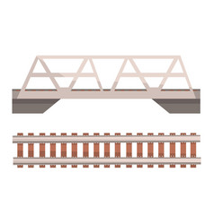 Railway bridge and railroad rail section vector