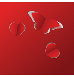 Red paper butterfly and hearts vector image