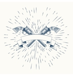 Revolvers and vintage sun burst frame vector image