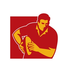 Rugby player running with the ball vector