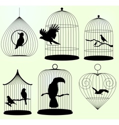Set of birdscages vector image