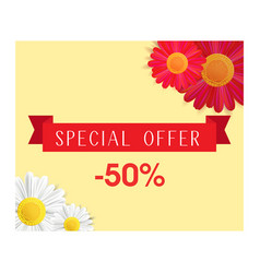 Special offer banner with realistic red and white vector