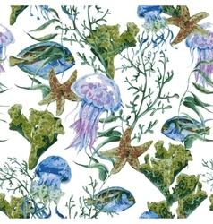 Summer vintage watercolor sea life seamless vector