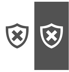 unprotected shield icon on black and white vector image vector image