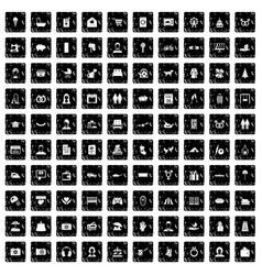 100 family icons set grunge style vector image