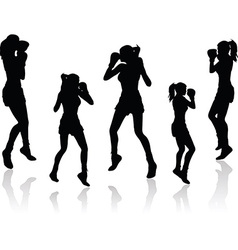 boxer woman silhouette vector image