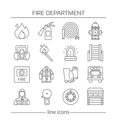 Fire Department Linear Icons Set vector image