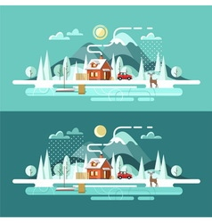 Nature winter landscape vector