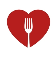Heart and fork sign healthy food icon vector