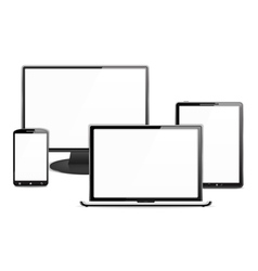 Computer monitor laptop tablet pc and smart phone vector