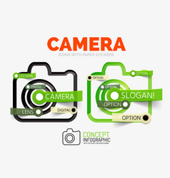 camera linear style icons 3d cut out vector image
