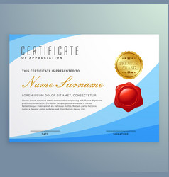 Stylish certificate of appreciation with wavy vector