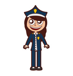 Woman police officer avatar character vector