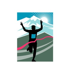 Marathon runner finish line vector