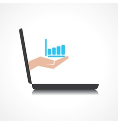 Hand holding business graph comes from laptop scre vector