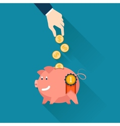 Businessman dropping coins into a piggy bank vector