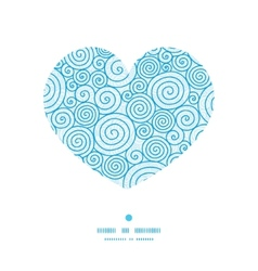Abstract swirls heart silhouette pattern frame vector