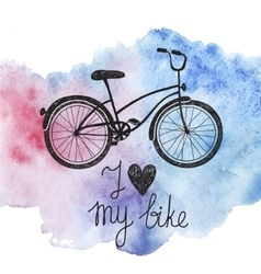Hand drawn bicycle on watercolor background vector