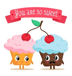 Cute pair of cupcakes sharing a cherry vector image