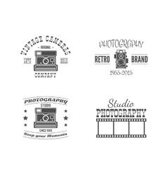 Vintage Photography Badges Labels Monochrome vector image