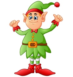 Cartoon elf giving two thumbs up vector