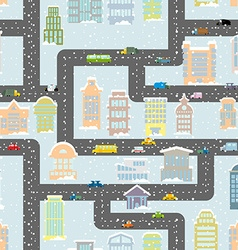 Snowfall in city seamless pattern urban map of vector