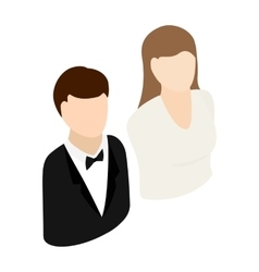 Bride and groom isometric 3d icon vector