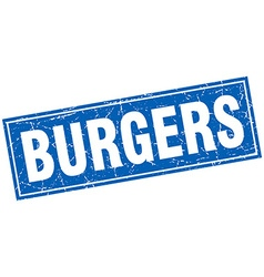 Burgers blue square grunge stamp on white vector