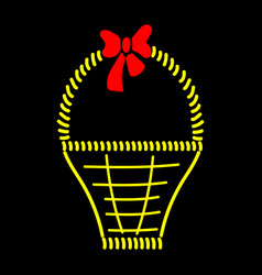 basket with bow sign 511 vector image