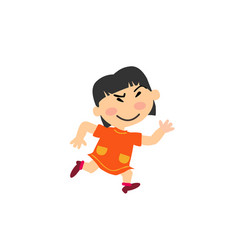 Cartoon character asian girl running vector