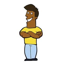 comic cartoon grinning man vector image vector image