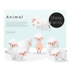 Cute animal family background with sheep 3 vector