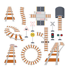 different structural elements of railway vector image