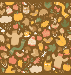 Faded leaves autumn pattern vector
