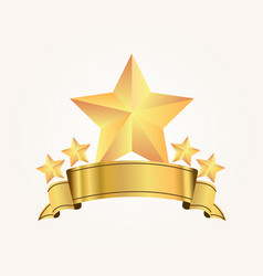 five golden stars with ribbon on soft background vector image