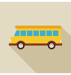 Flat School Bus Transport with long Shadow vector image vector image