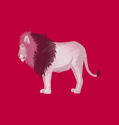 Flat shading style icon lion vector