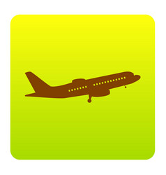 Flying plane sign side view brown icon vector