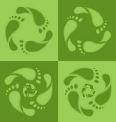 footprint recycle sign vector image vector image