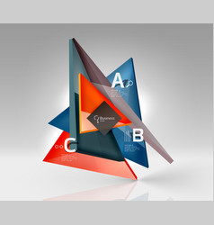 glossy glass translucent triangles on 3d empty vector image vector image