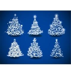 Hand-drawn Christmas trees vector image