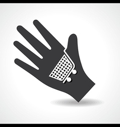 Human hand with shopping cart symbol concept vector image