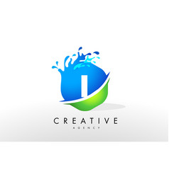 I letter logo blue green splash design vector