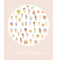 Ice cream cute card vector image