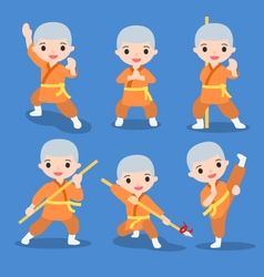 kung fu characters set vector image vector image
