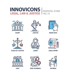 Law and Justice - flat design icons set vector image vector image