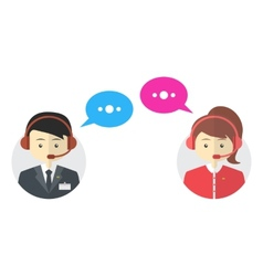 Male and female call center avatar icons vector image vector image