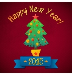 Merry christmas and happy new year tree card vector